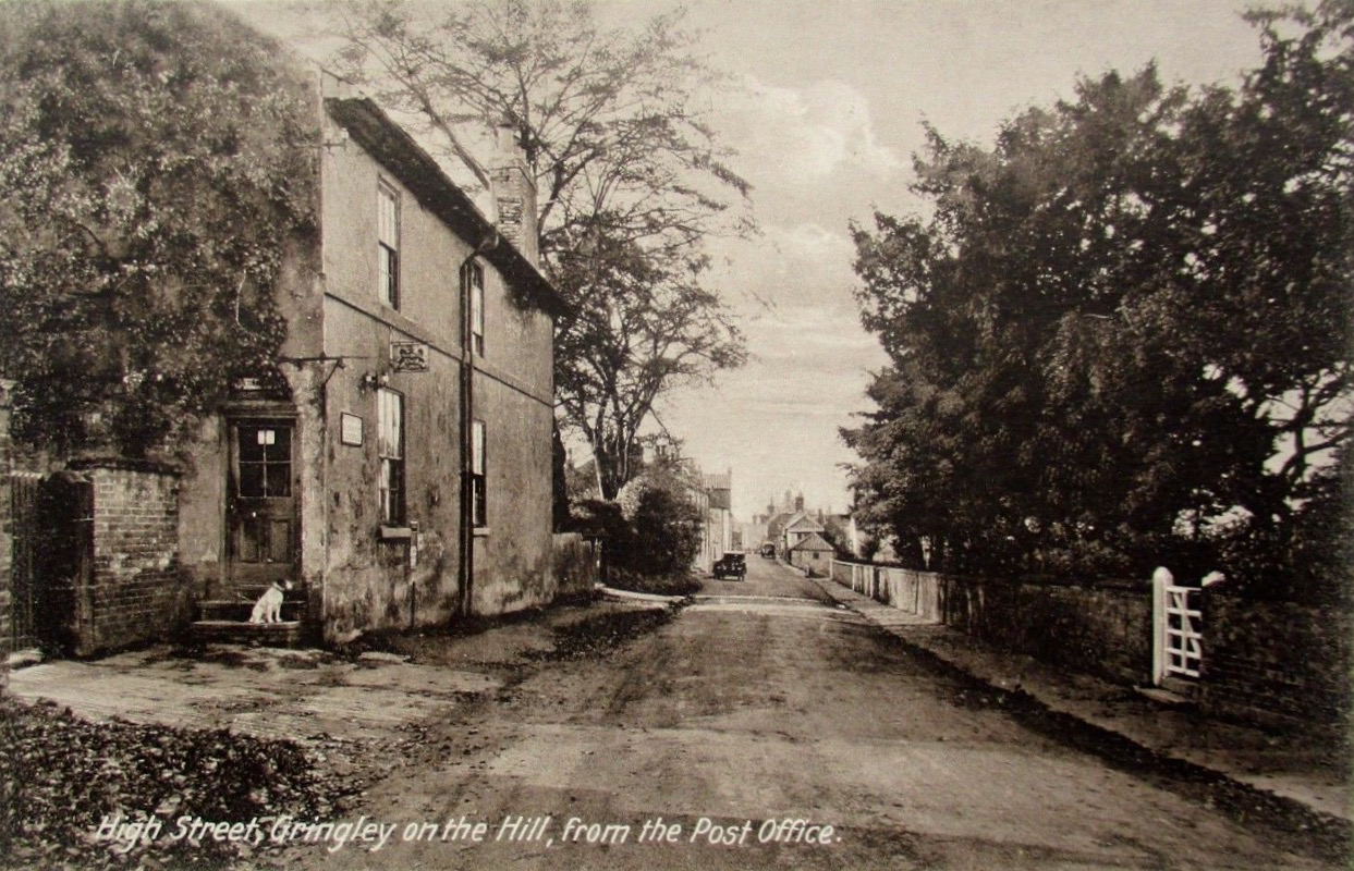 Reproduction Postcard Beeches Post Office with dog and High Street looking west